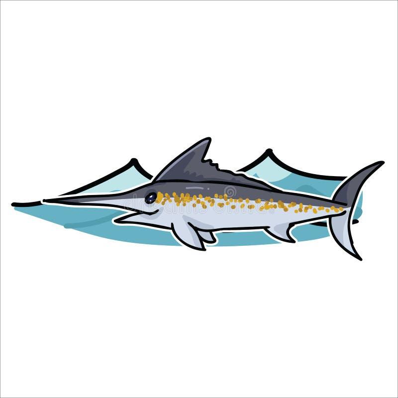 与波浪动画片例证主题集合的逗人喜爱的海洋细索 手拉的被隔绝的海洋生活箭鱼元素clipart为 皇族释放例证