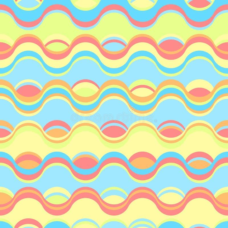 与波浪和波纹的无缝的明亮的几何样式 向量例证