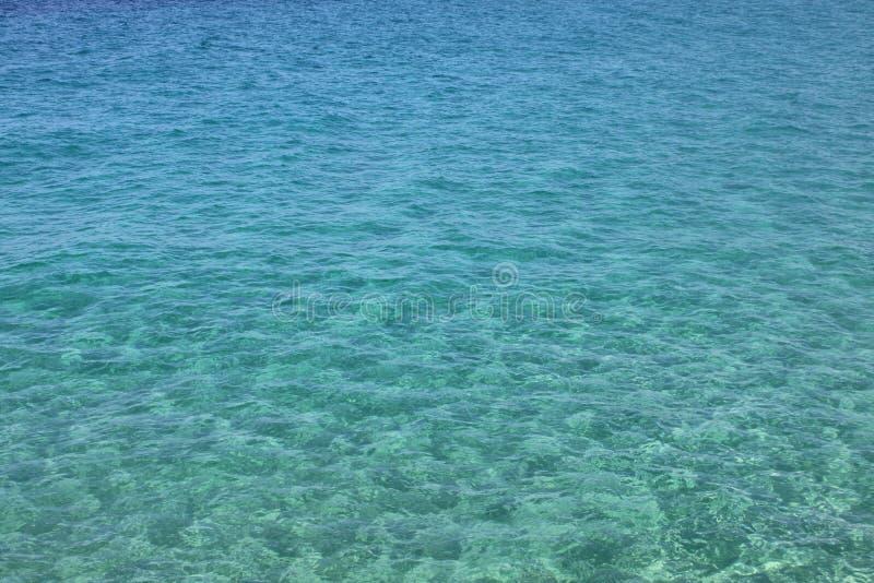 与波浪和波纹的蓝色海水 背景峡湾光芒海运星期日 亚得里亚海,欧洲,意大利 免版税库存图片