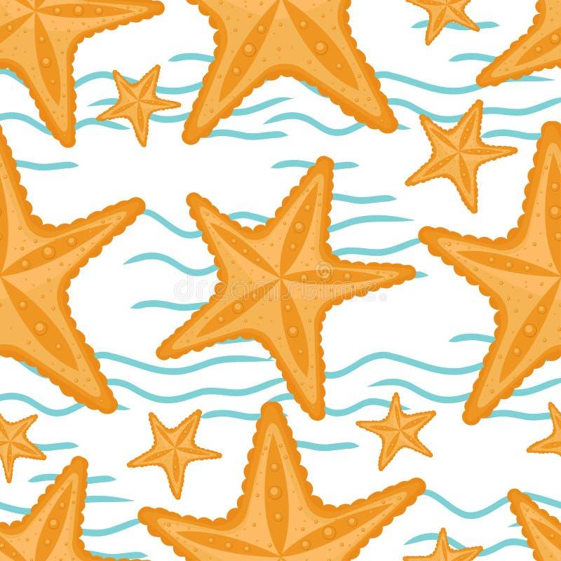 与波浪和海星,无缝的海样式的背景 库存例证