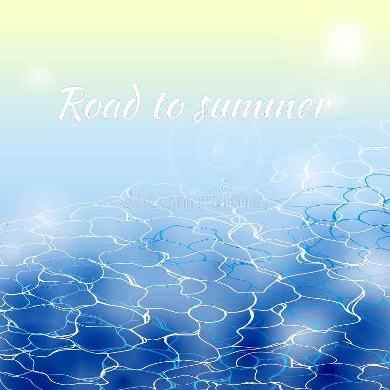 与波浪和海泡沫的夏天晴朗的风景 海洋抽象传染媒介背景 皇族释放例证