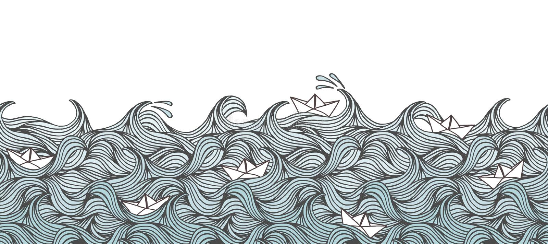 与波浪和纸小船的横幅 皇族释放例证