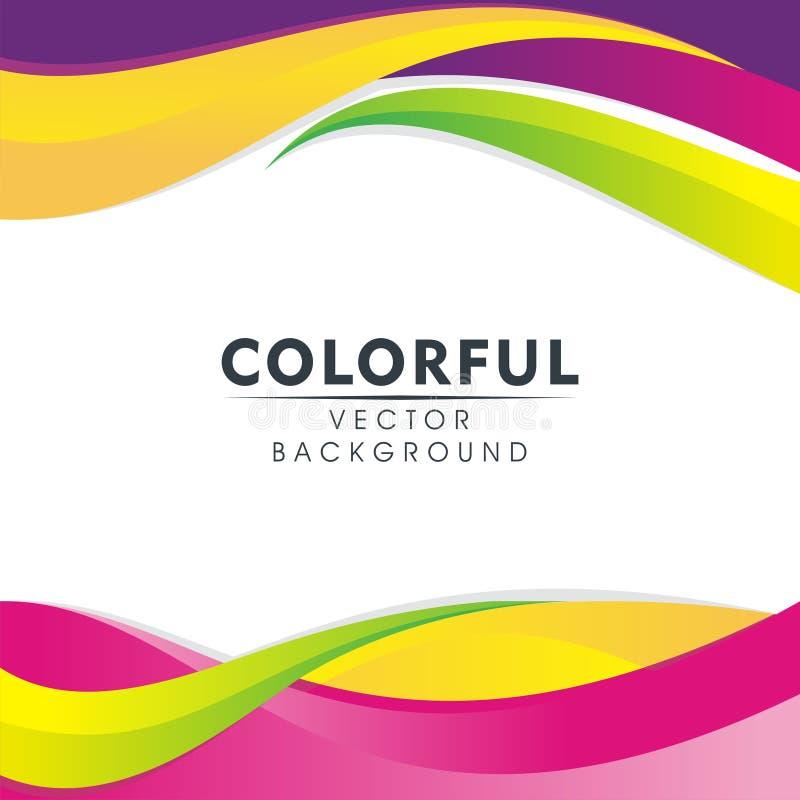 与波浪样式设计的五颜六色的抽象背景 向量例证
