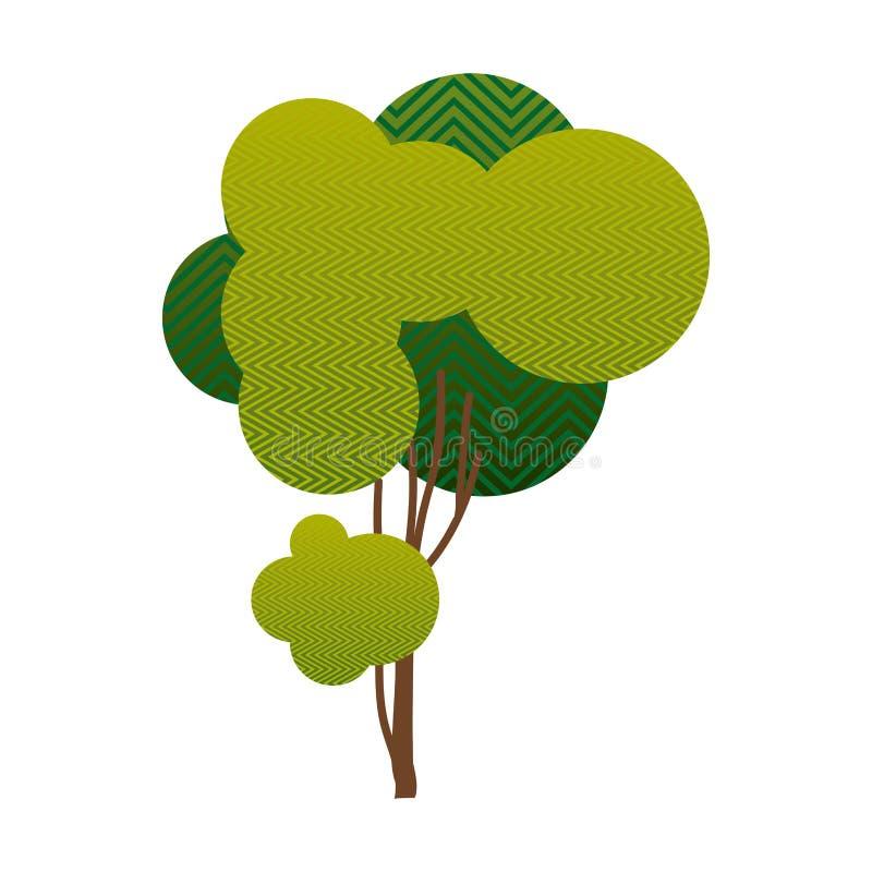 与波浪的一点叶茂盛树排行的五颜六色的剪影 皇族释放例证