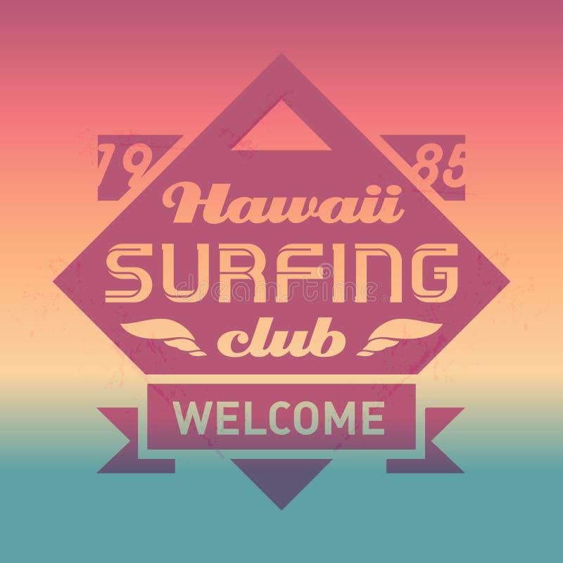 与波浪的夏威夷冲浪的俱乐部葡萄酒标签 海浪传染媒介商标 向量例证