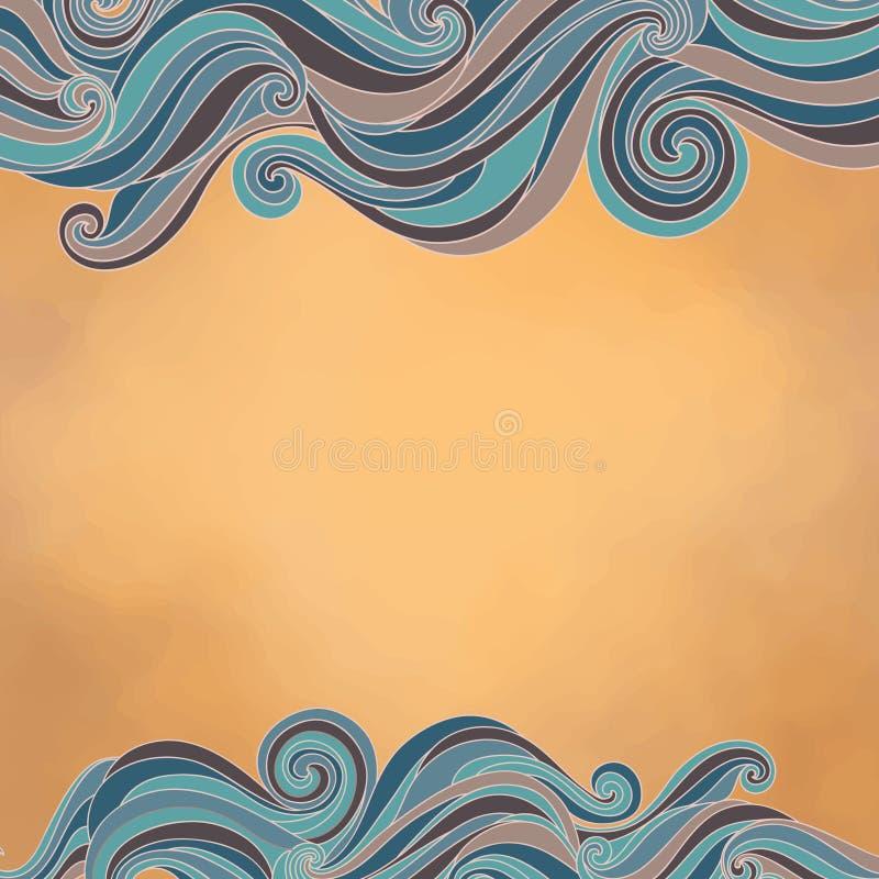 与波浪的抽象背景,纸纹理和文本调遣 向量例证
