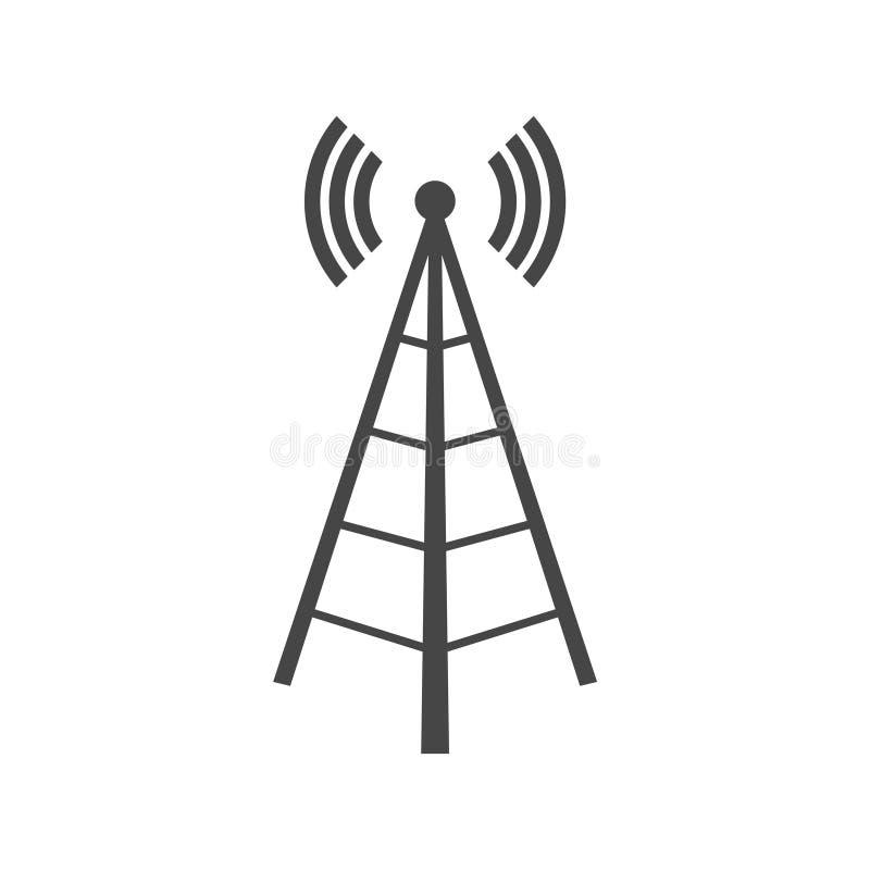 与波浪的无线塔,塔象,塔商标 向量例证
