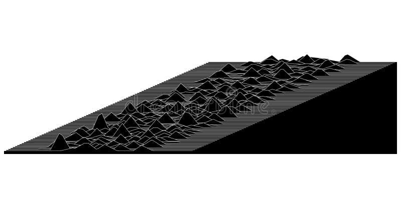 与波浪的黑白抽象线例证 向量例证