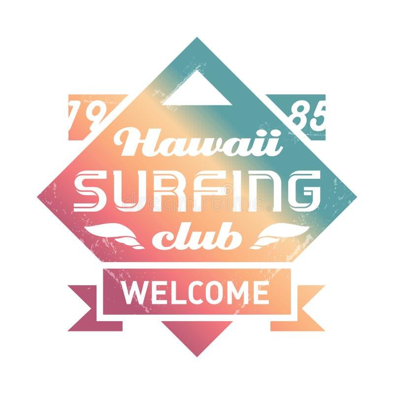 与波浪的PrHawaii冲浪的俱乐部葡萄酒标签 海浪葡萄酒Vec 皇族释放例证