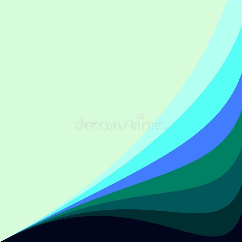 与波浪线的抽象几何传染媒介背景好为深蓝邀请设计绿色水色蓝色绿松石的小野鸭 向量例证
