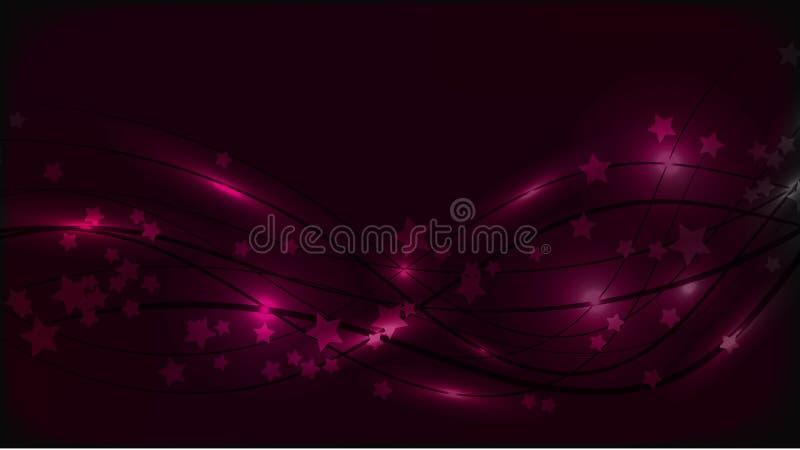与波浪线的抽象空间背景和光火光和星号 在多彩多姿的天空背景的紫色星 库存例证