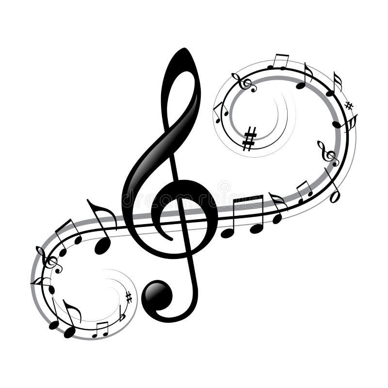 与波浪线的音乐笔记 库存例证