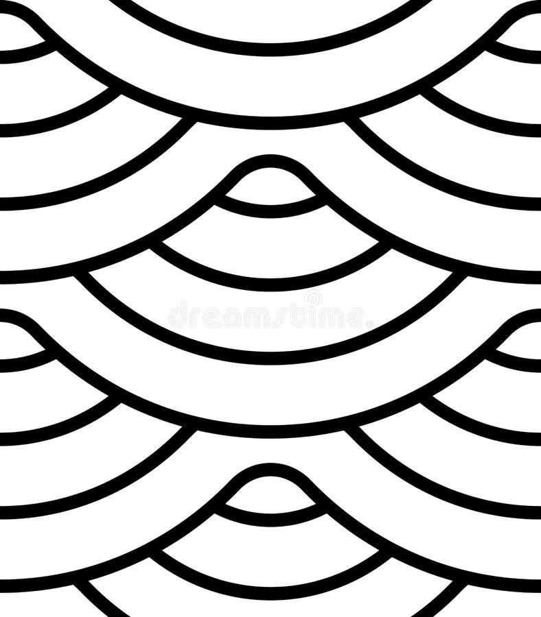 与波浪线,条纹的抽象几何样式 无缝的传染媒介背景 米黄和白色装饰品 皇族释放例证