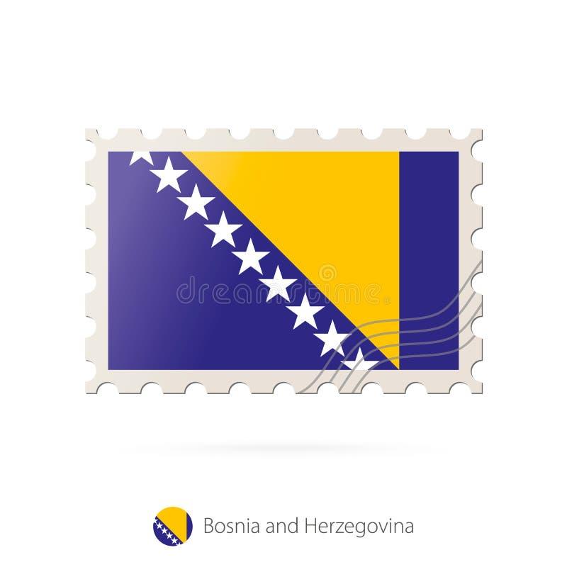 与波黑旗子的图象的邮票 向量例证