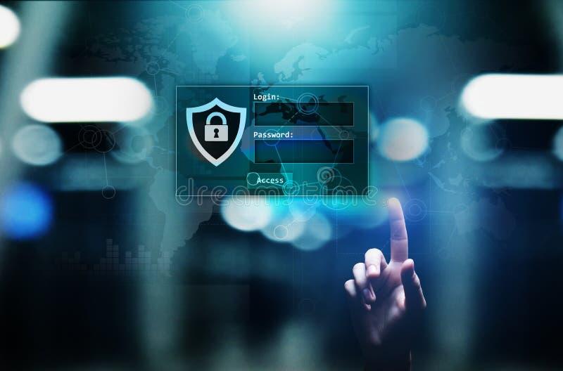 与注册和密码的通入窗口在虚屏上 网络安全和个人资料保护概念 免版税库存图片