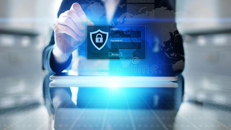 与注册和密码的通入窗口在虚屏上 网络安全和个人资料保护概念 库存照片