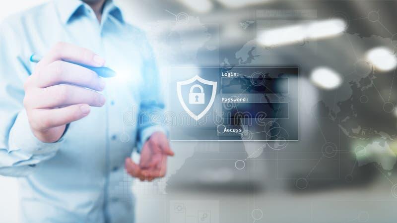 与注册和密码的通入窗口在虚屏上 网络安全和个人资料保护概念 免版税图库摄影
