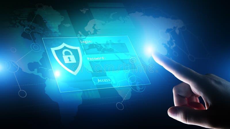 与注册和密码的通入窗口在虚屏上 网络安全和个人资料保护概念 免版税库存照片