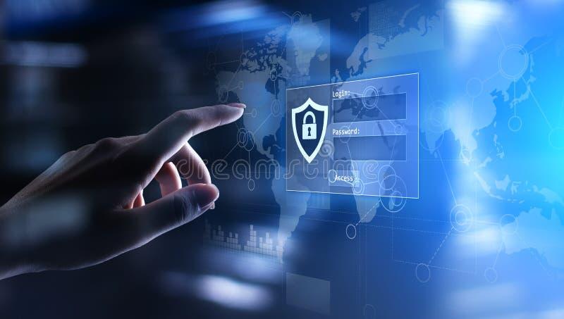 与注册和密码的通入窗口在虚屏上 网络安全和个人资料保护概念 向量例证