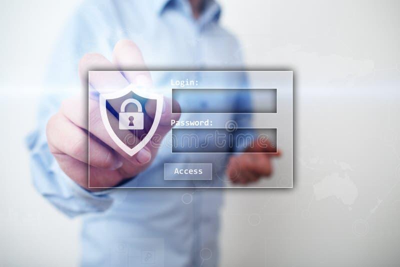 与注册和密码的通入窗口 Cybersecurity和数据保护概念在虚屏上 免版税库存图片