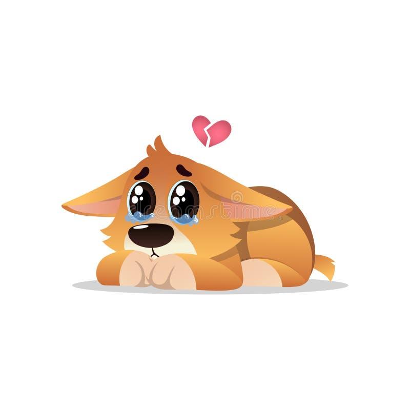 与泪花的被放弃的小的小狗在眼睛 孤独的小狗说谎与在他的头的残破的桃红色心脏 动画片狗字符 向量例证