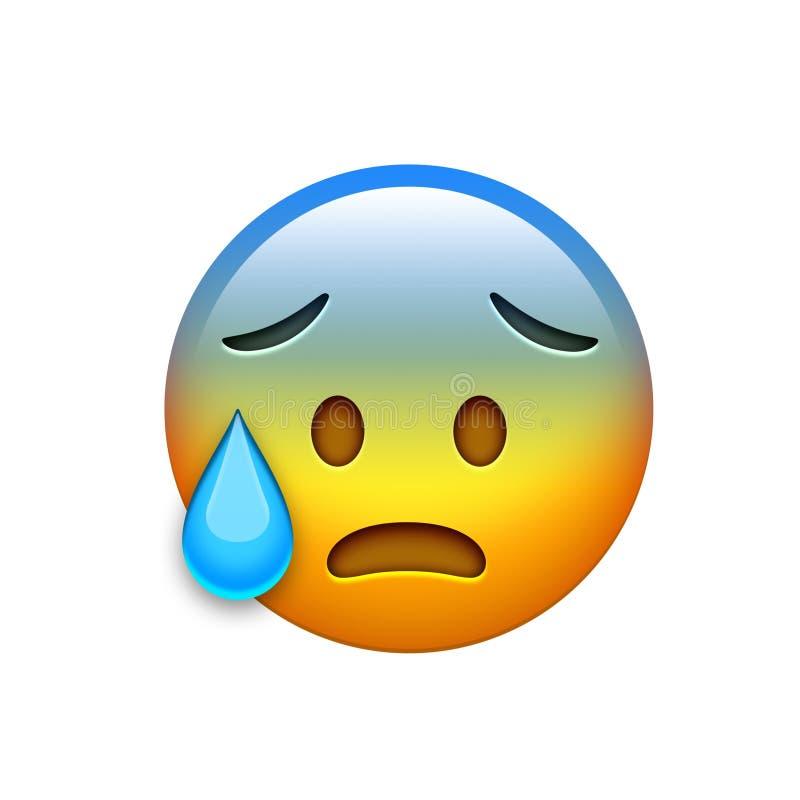 与泪花象的emoji黄色头疼鬼的面孔 库存例证