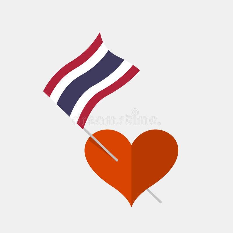 与泰国旗子的心脏象 库存例证