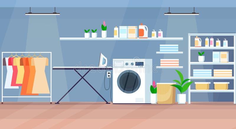 与洗衣机木架子挂衣架电烙板水平的舱内甲板的现代洗衣房内部 向量例证