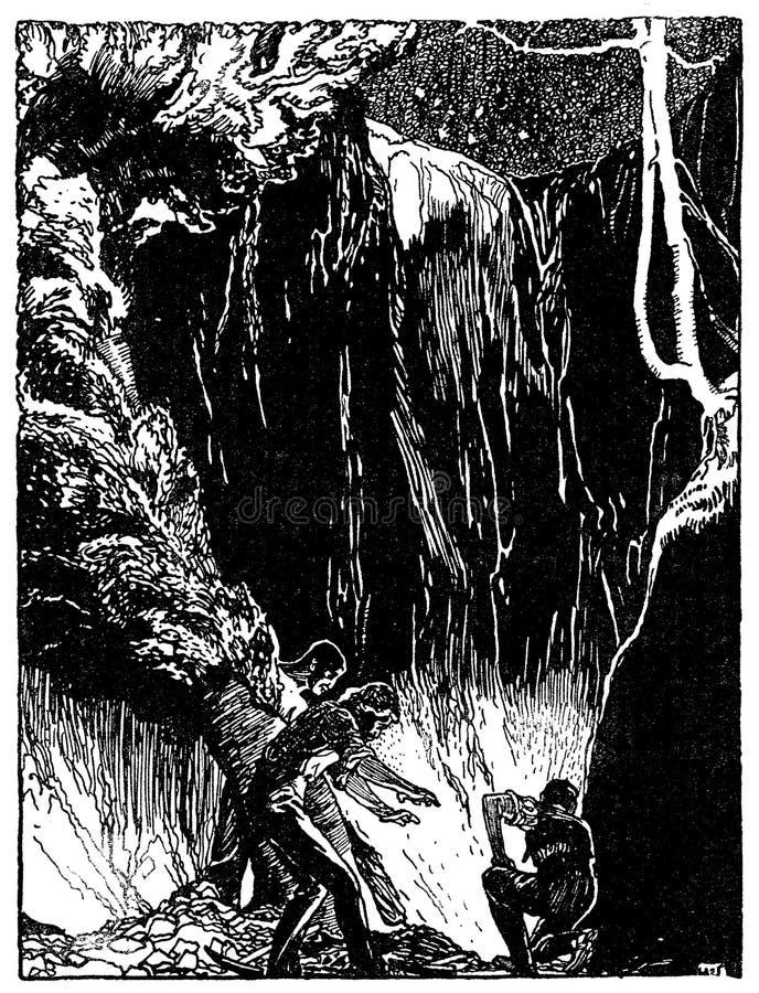 与洞探险场面的印刷装饰艺术装饰小插图:冒险和奥秘在繁星之夜,使用作为横幅, 库存例证