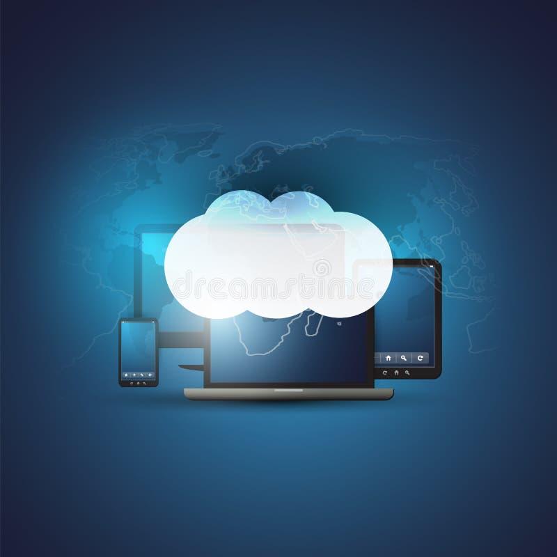 与流动电子设备和世界地图-数字网连接,技术背景的云彩计算的设计观念 向量例证