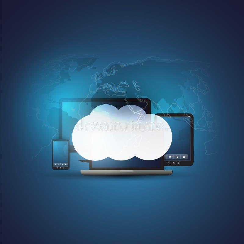 与流动电子设备和世界地图-数字网连接,技术背景的云彩计算的设计观念 皇族释放例证