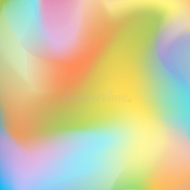 与流动的光滑的线,桔子,黄绿和紫色蓝色梯度转折的明亮的被弄脏的背景 皇族释放例证