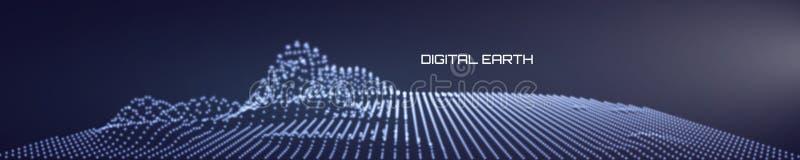 与流动的微粒和上部光的抽象数字风景 网络或技术背景 r 向量例证