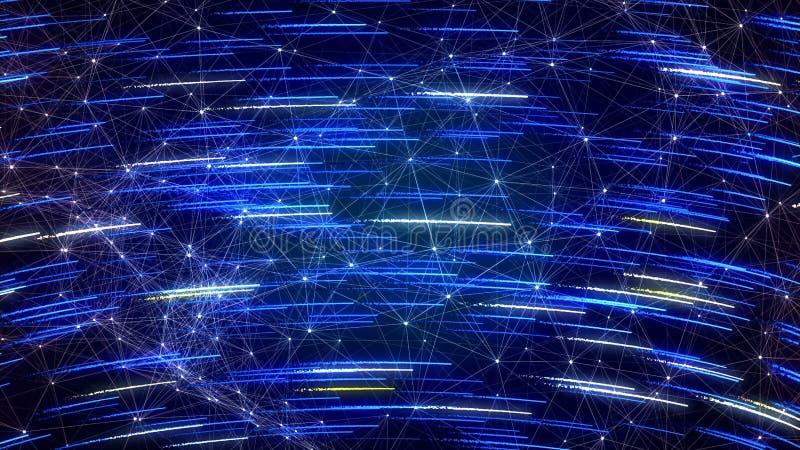 与流星的科学幻想小说蓝色背景 皇族释放例证