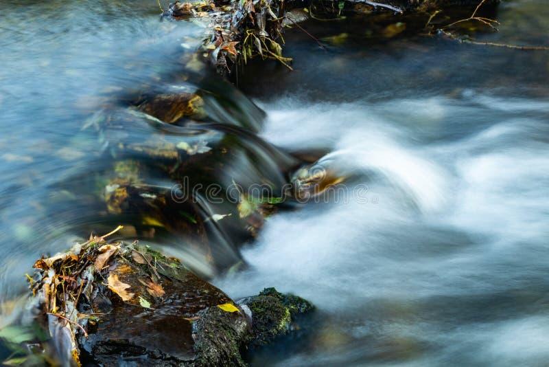 与流经在生苔石头中的山河的秋天风景清楚的水五颜六色的森林柔滑的光滑的小河  库存照片