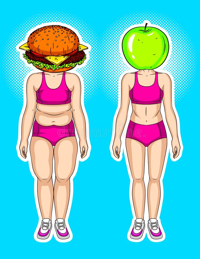 与流行艺术样式的元素的颜色传染媒介现代拼贴画 反对绿色苹果的汉堡 关于丢失的weig的概念性明亮的海报 皇族释放例证