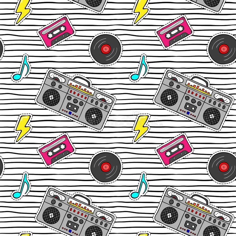 与流行艺术贴纸的无缝的样式与录音机,卡式磁带,在现代纹理的唱片与黑条纹 库存例证