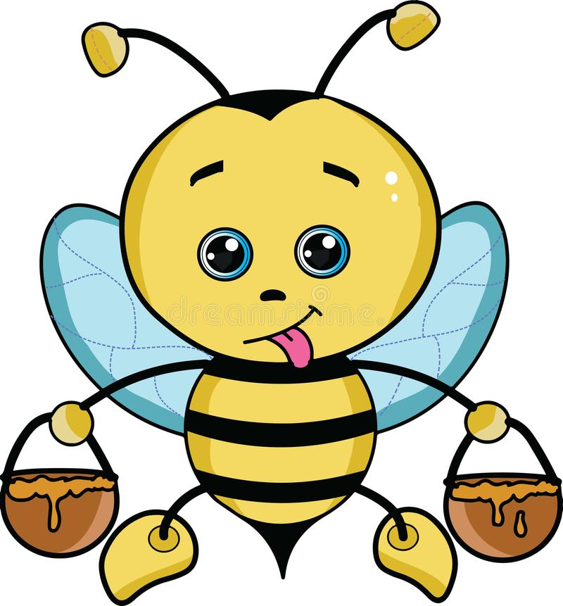 与浅兰的翼的逗人喜爱的动画片蜂蜜蜂例证 皇族释放例证