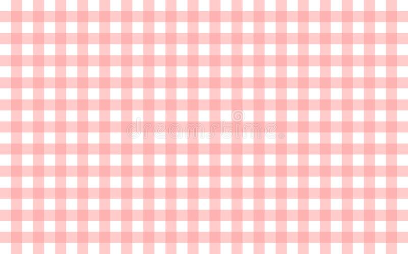 与浅粉红色和白色检查的象方格花布的桌布 库存例证