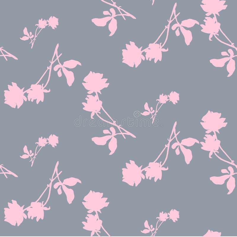 与浅粉红色的玫瑰和叶子剪影的水彩无缝的样式在浅灰色的背景 在轻的口气的中国主题 向量例证