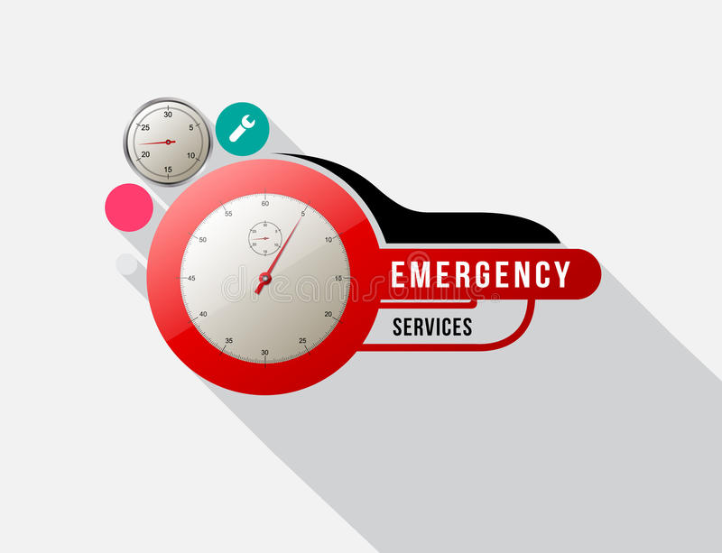 与测路器的紧急情况服务 皇族释放例证
