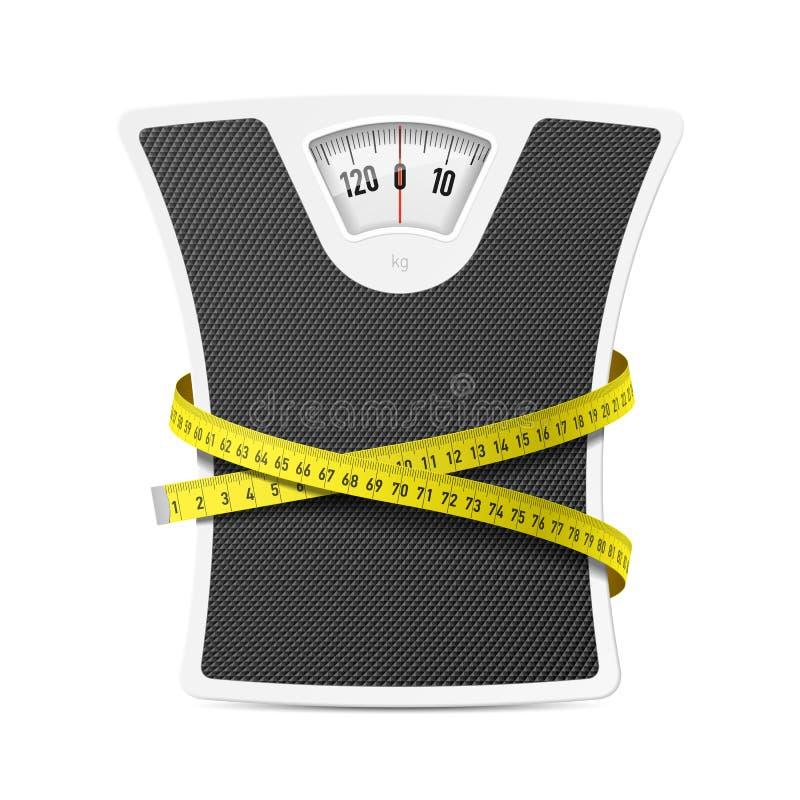 与测量的磁带的体重计 向量例证