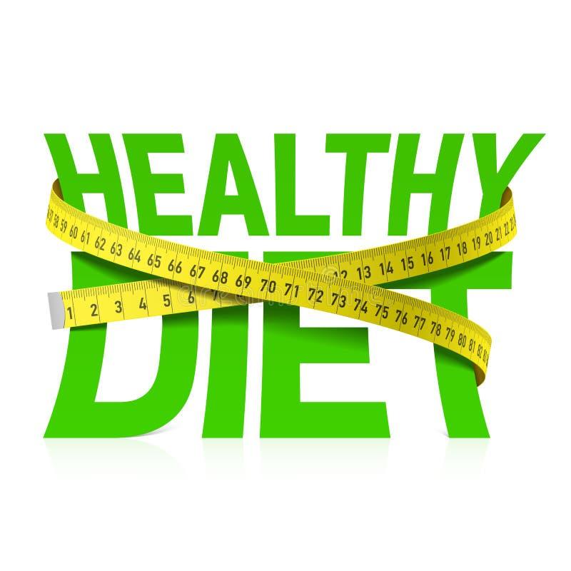 与测量的磁带的健康饮食词组 库存例证