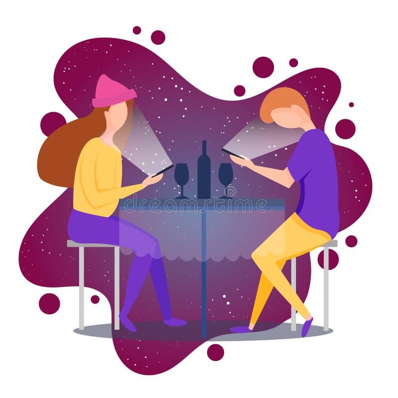 与浪漫千福年的晚餐的传染媒介例证 千福年的一代 浪漫夫妇在餐馆在日期 库存例证