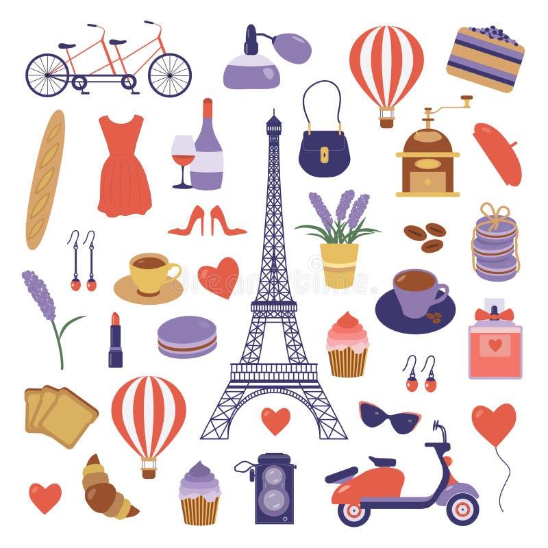 与浪漫旅行元素的巴黎集合 皇族释放例证