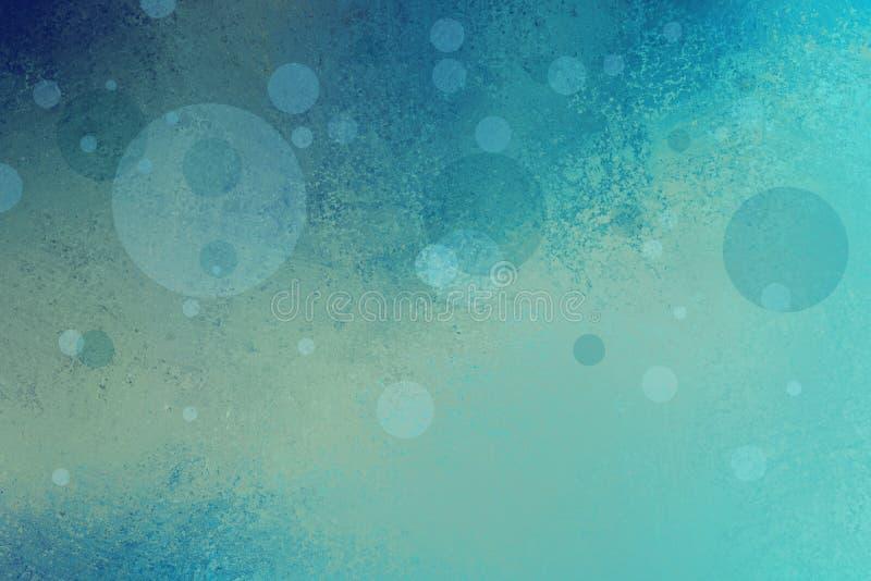 与浮动泡影或圈子和难看的东西纹理的抽象蓝绿色背景 免版税图库摄影