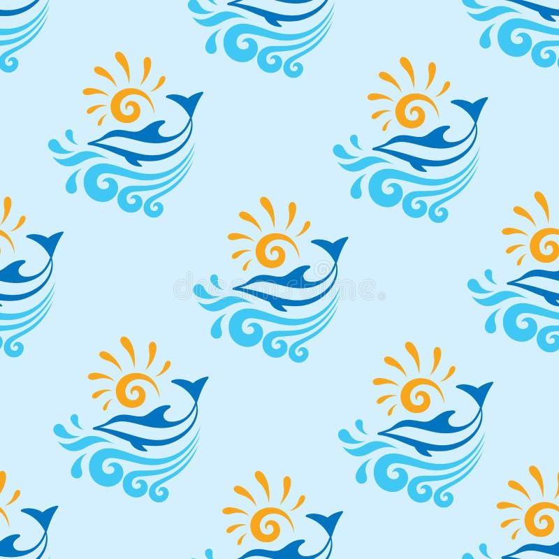 与海、波浪&太阳的传染媒介背景-无缝的样式的海豚 向量例证