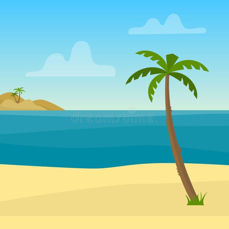 与海、海洋、棕榈和沙子的热带背景 库存例证