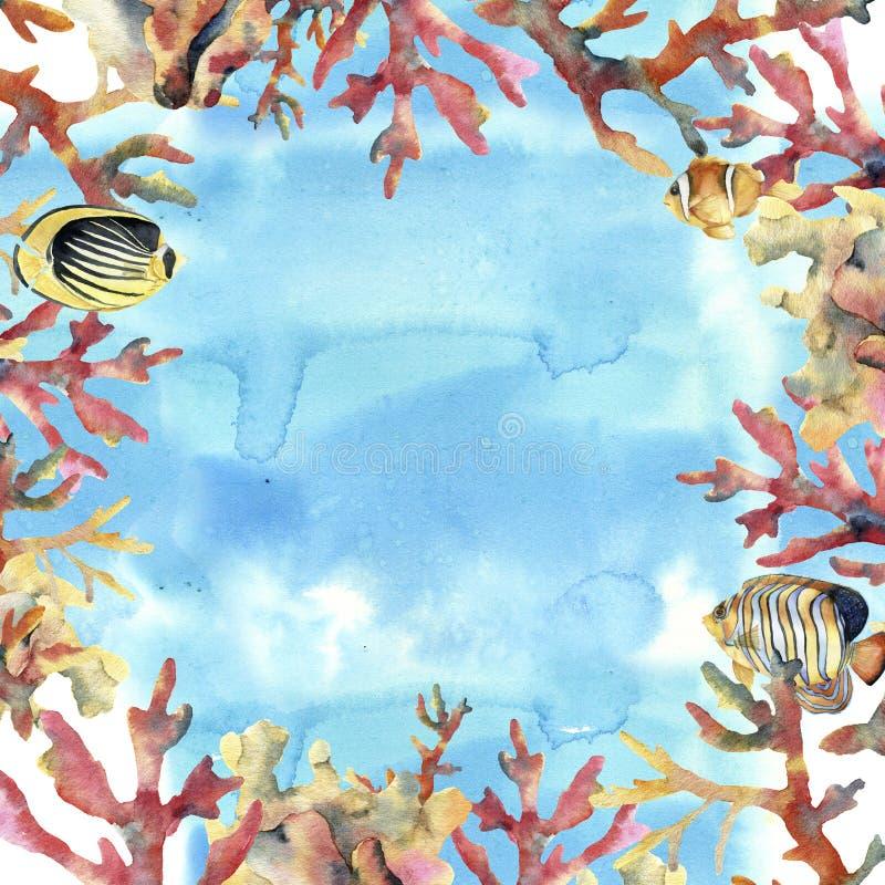 与海、珊瑚和鱼的水彩卡片 与珊瑚分支的手画水下的框架 热带生活的海运 向量例证