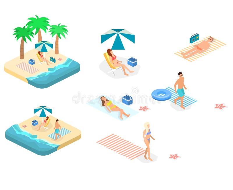 与海和人的等量infographic风景海滩的 等量平的3D风景 向量例证